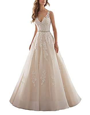 Meledy Women's V-Neck Lace Appliques Beaded Long Wedding Dress Bridal Gowns