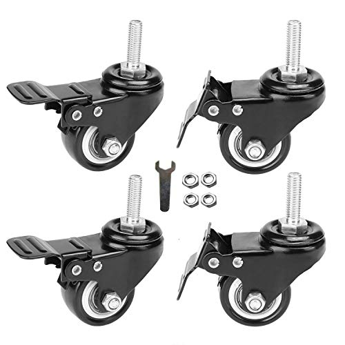 "OuYi 2"" Stem Caster Wheels with Brake Lock, Screwed Bolt 3/8""-16 x 1"", Heavy Duty Swivel Rubber Wheels 4 Pack with Nuts Double Bearings No Noise Castors"