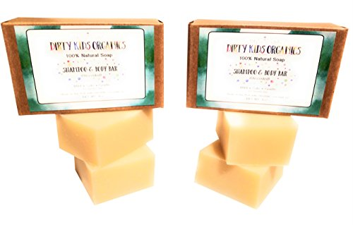 Face Kids Shampoo (2 Pack (4 Child Sized Bars) Baby & Kid Shampoo & Body Wash Bar Soap | Natural & Organic Formula For Head, Face, Body & Hair | No Scents, No Colors, No Additives | Dirty Kids Organics)