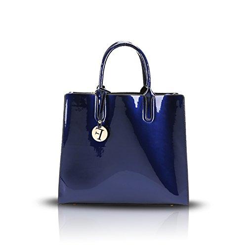 Tisdaini 2017 nuevo bolso femenino del ocio de las señoras de la capacidad grande del bolso del mensajero del hombro del bolso del bolso de la cáscara del cuero de patente de la PU de la manera Azul