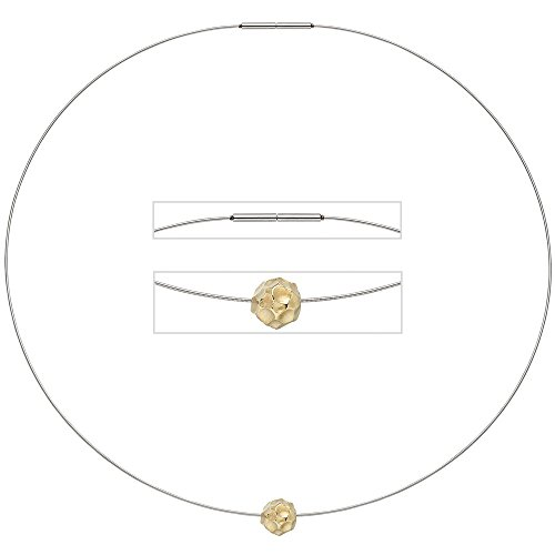 Collier Chaîne en acier inoxydable avec pendentif en or jaune 585Mat 42cm