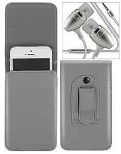 Nokia 222 Estuche vertical de cinturón - alta calidad Estuche bolsa para teléfono móvil de cinturón de piel PU con un fuerte enganche incorporado con auriculares / micrófono metálicos Jack 3.5mm universal ( Gris ) - LOLO®