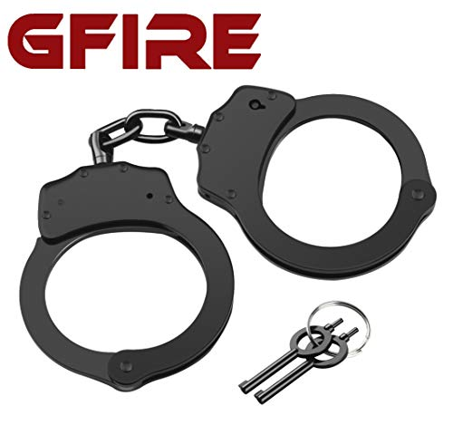 GFIRE Real Handcuffs Police Edition Professional Grade Double Lock Black Metal Hinged Handcuffs Perfect for Security Guards, Law Enforcement and Concerned Citizens