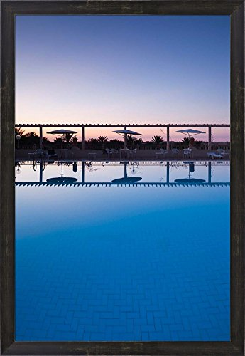 Hotel El Mouradi Pool (Tunisia, Jerid Area, Tozeur, Hotel El Mouradi Pool by Walter Bibikow / Danita Delimont Framed Art Print Wall Picture, Espresso Brown Frame, 21 x 30 inches)