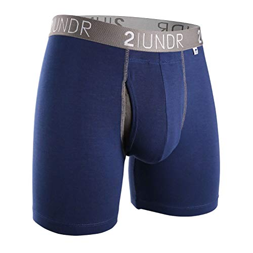 2UNDR Men's Swing Shift Boxers (Navy/Grey, Large)