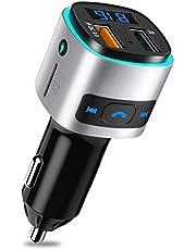 SONRU Bluetooth FM Transmitter, Auto Radio Transmitter Freisprecheinrichtung KFZ Audio Adapter MP3 Player, Auto Ladegerät mit QC3.0 USB Port LED Anzeige, Unterstützt U Disk & TF Karte, Buntes Licht