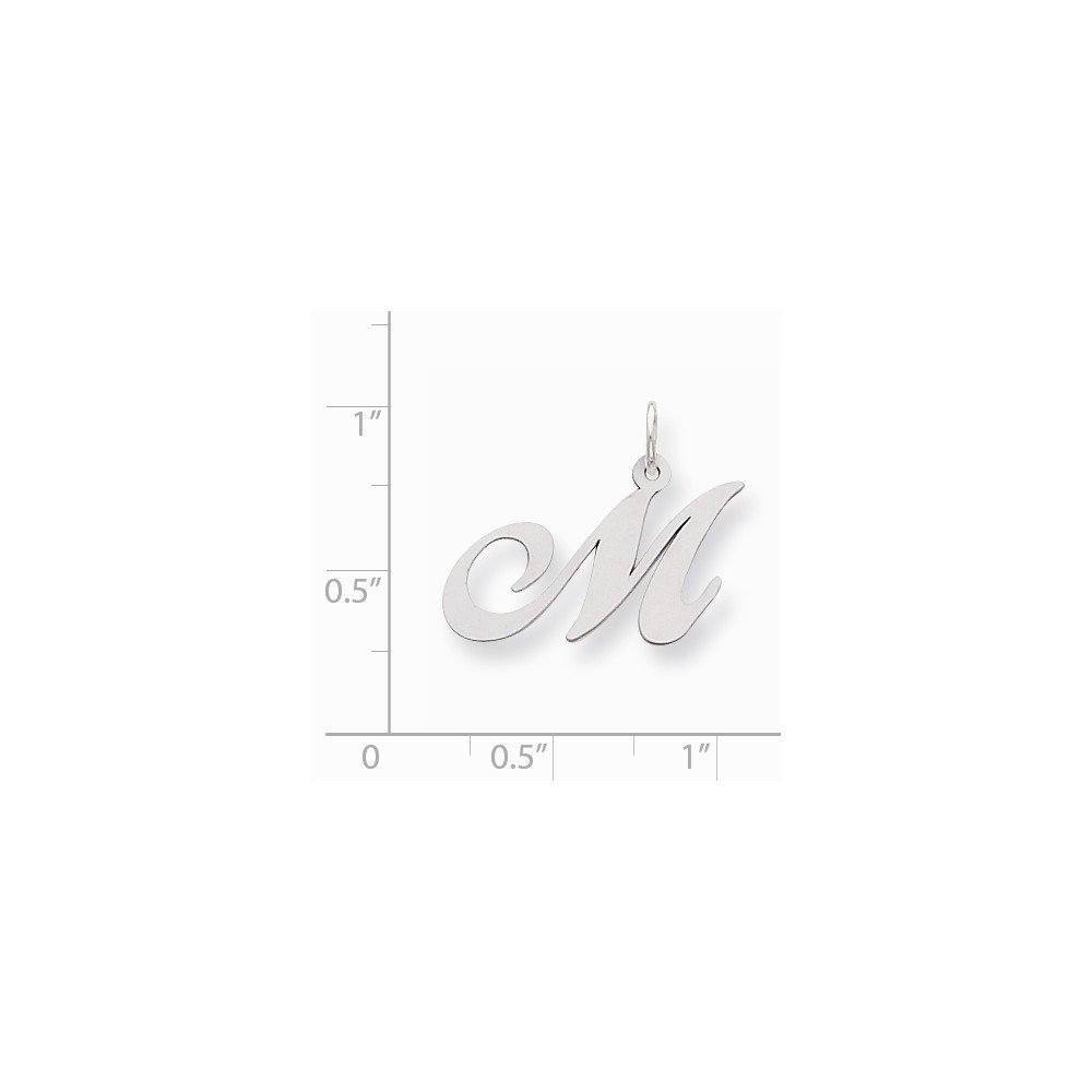 Jewel Tie 925 Sterling Silver Medium Fancy Script Initial M Pendant Charm