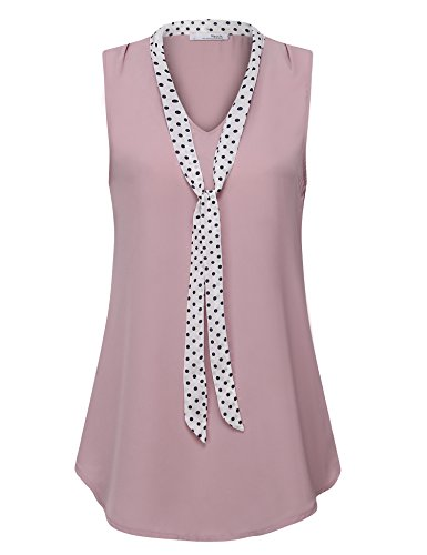 Messic Business Casual Clothes for Women, Feminine Sleeveless Swing Tunic Tank Tops Bow Tie V Neck Polka Dot Shirts Pleated Chiffon Blouse for Work(XX-Large,Dark Pink)