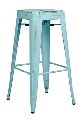 Office Star Bristow Antique Metal Barstool, 30-Inch, Antique Sky Blue, - Stool 30 Antique In Bar