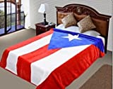 """PUERTO RICO Flag Blanket,75""""Hx90""""W, Throw, Ultra Plush Korean Mink, Year Round, Vivid color, Warm, Lightweight perfect Traveling, Camping ,Hiking,Cabin, Sleigh , Bunk , Bed, Sofa and Couch Bed-Cover"""