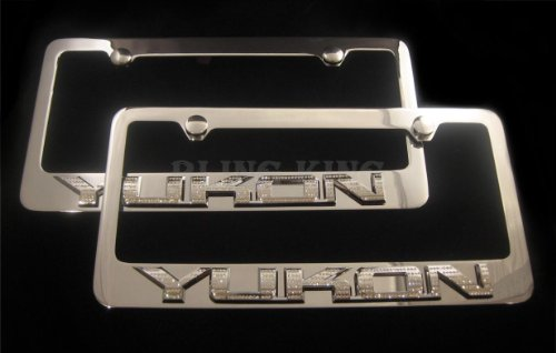 YUKON Emblem Chrome License Plate Frame Swarovski Crystals Iced Out ()