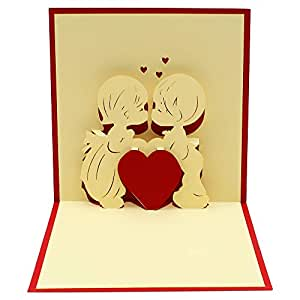 Super Cute Love - Pop Up Cards, 3D Popup Greeting Card, Anniversary Card, for Wedding Birthday Christmas Xmas Thank You Love Sympathy