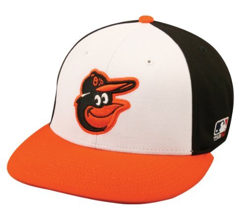 (2013 Youth FLAT BRIM Baltimore Orioles Home Wht/Blk/Orng Hat Cap MLB)