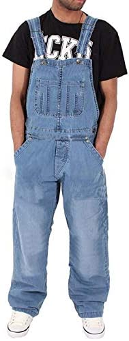 Omoone Men`s Loose Baggy UniDenim Bib Overalls Plus Size Jeans Jumpsuits