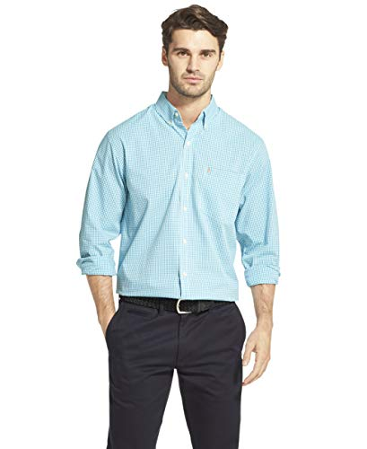 IZOD Men's Button Down Long Sleeve Stretch Performance Gingham Shirt, Caneel Bay, XX-Large ()