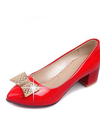 Rouge talons chaussures Verni Ggx Travail bureau Cn34 amp; Talons cuir Femme À Black noir Uk3 Eu35 Décontracté Chaussures gros Bout Blanc Pointu us5 Talon 6rq6UPw0