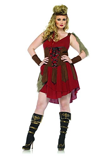 Leg Avenue Women's Plus-Size 3 Piece Deadly Huntress Costume, Burgundy, -