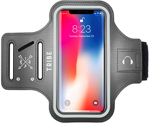 TRIBE Water Resistant Cell Phone Armband Case for iPhone 8, 7, 6, 6S Samsung Galaxy S9, S8, S7, S6, A8 with Adjustable Elastic Band & Key Holder for Running, Walking, Hiking
