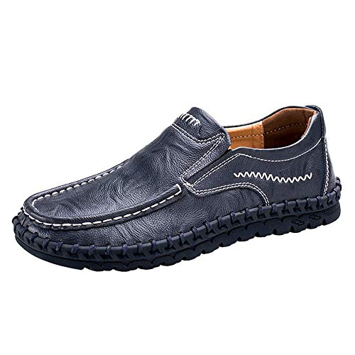 Pictures of VILOCY Men's Leather Slip On Loafers 3358*19 Blue 1
