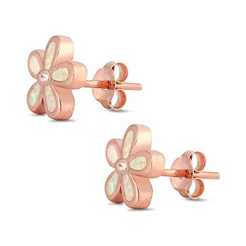 White Synthetic Opal Flower Shape Earring Rose Gold-Toned Sterling Silver