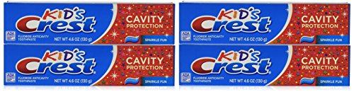 (Crest Kid's Crest, Fluoride Anticavity Toothpaste, Sparkle Fun Flavor, 4.6 Ounce Tubes (Pack of 4))