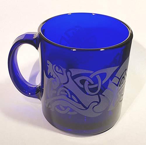 IncisoArt Hand Etched Coffee Mug Sandblasted (Sand Carved) Glass Handmade Engraved (1, Cobalt Blue Celtic Dragon)
