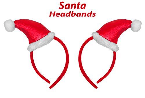 Christmas Santa Hat Headband, 2 Pcs, Christmas Plush Headbands, Best Christmas Costume for Kids, 8 Inches, By 4Es Novelty,