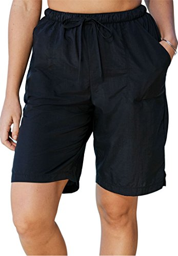 Swim 365 Women's Plus Size Long Taslon Board Shorts Black,18/20