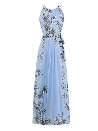 PERSUN Halter Neck Floral Print Maxi Dress, Blue02, Small