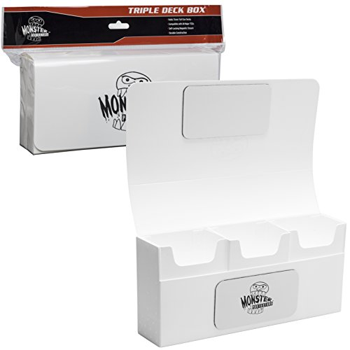 Deck Box- Magnetic Triple Deck Box (WHITE) by Monster Protectors- Fits Mtg Magic, Yugioh, and Pokemon