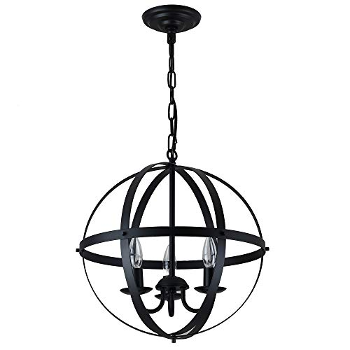 Pendant Light Industrial Globe Chandelier Vintage Metal Spherical Lantern Chandelier Swag Ceiling Lighting Fixture