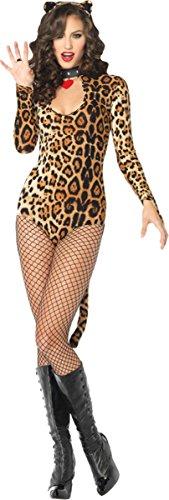 Leg Avenue Women's 2 Piece Wildcat Keyhole Teddy Costume With Tail And Ear Headband, Leopard, Small/Medium