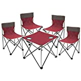WLDD Outdoor Folding Table and Chair Set Fishing Chair Stool Portable Outdoor Self-Driving Car Table and Chairs 1 Table 4 Chairs ( Color : RED )