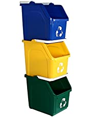 Busch Systems 3 Pack Multi Recycler with Recycling Logo - Blue | Yellow | Green