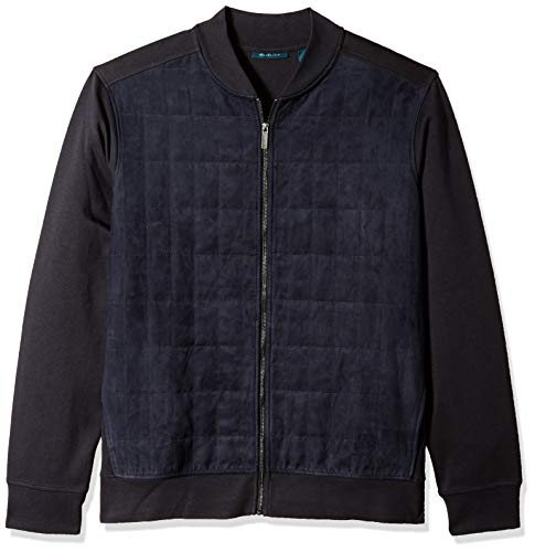 Perry Ellis Men's Big and Tall Quilted Faux Suede Full Zip Jacket, Dark Sapphire, 3X ()