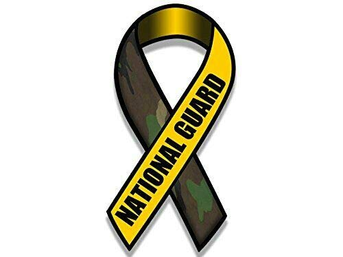 MAGNET 3x5 inch Ribbon Shaped National Guard Sticker (Army Troops Pro Support Son Mom) Magnetic vinyl bumper sticker sticks to any metal fridge, car, signs