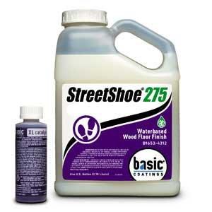 Floor Finish Water Based (Basic Coatings STREETSHOE® Waterbased Wood Floor Finish Semi-Gloss 1 Gallon)