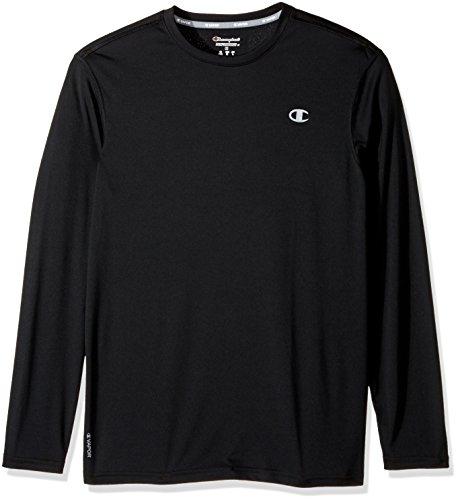 Champion Men's Double Dry Heather Long Sleeve T-Shirt, Black, Large ()