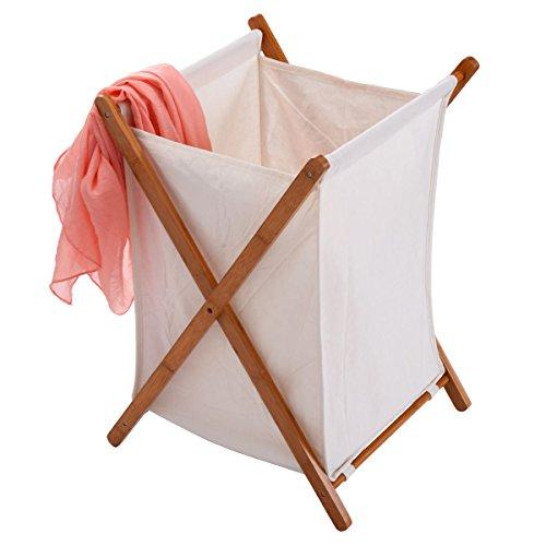 Chrome Symbol Tub (New Natural Color Household Folding Bamboo X-Frame Laundry Hamper Clothes Storage Basket Bin Bag)