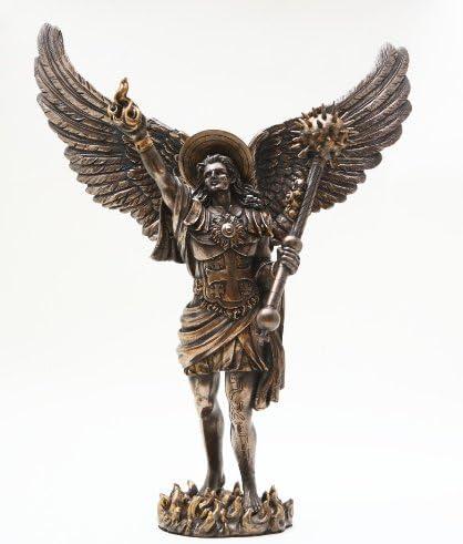 "Archangel Uriel Figure Bronze Powder Cold Cast Resin Statue 12.75/"" Height"