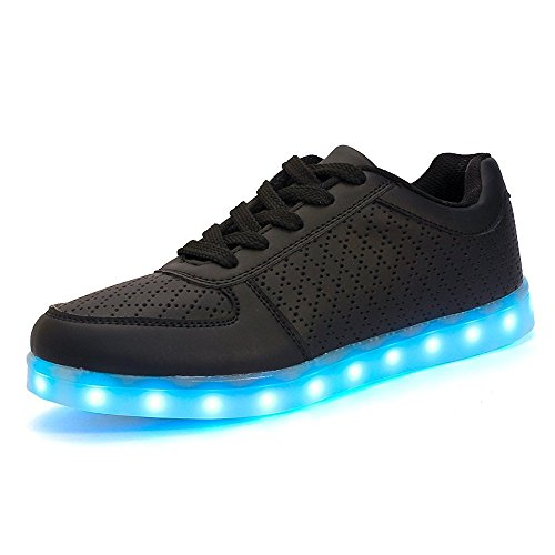 Mens Shoes Women Sneaker Led Light Up Running Shoes USB Charging Flashing Sneakers (Black 36/5 B(M) US Women / 4 D(M) US Men)]()