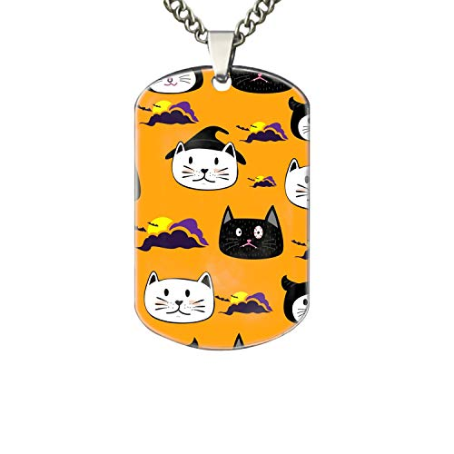 PANQJN Cute Face CatCartoon Halloween Theme Personalized Pet Necklace ID Tags for Dogs & Cats, Includes Protect Tag & Single-Sided -
