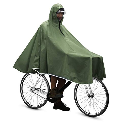 Anyoo Waterproof Rain Poncho Bike Bicycle Rain Capes Lightweight Compact Reusable for Adults Green