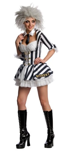 Beetle Juice Secret Wishes Sexy Costume, Black/White, X-Small