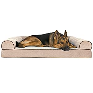 FurHaven Orthopedic Faux Fleece & Chenille Sofa-Style Couch Pet Bed for Dogs and Cats, Cream, Jumbo