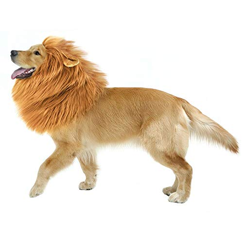 GABOSS Lion Mane Costume for Dog, Wig for Large Pet Festival Party Fancy Hair Clothes with Ear, Brown -