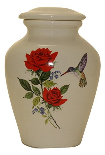 Red Rose with Hummingbird- Cremation Urn or Keepsake for Ashes - Hand Made Pottery (Small 57 Cubic inches) -
