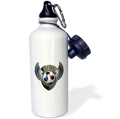 3dRose wb_158036_1 ''France soccer ball with crest team football French'' Sports Water Bottle, 21 oz, White by 3dRose