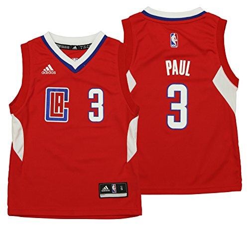 (NBA Boys 4-7 Los Angeles Clippers Paul Away Replica Jersey-Red-L(7))