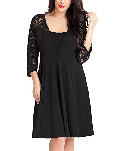 Lookbook Store LookbookStore Women's Black Floral Lace 3/4 Sleeve Casual Cocktail Skater Dress